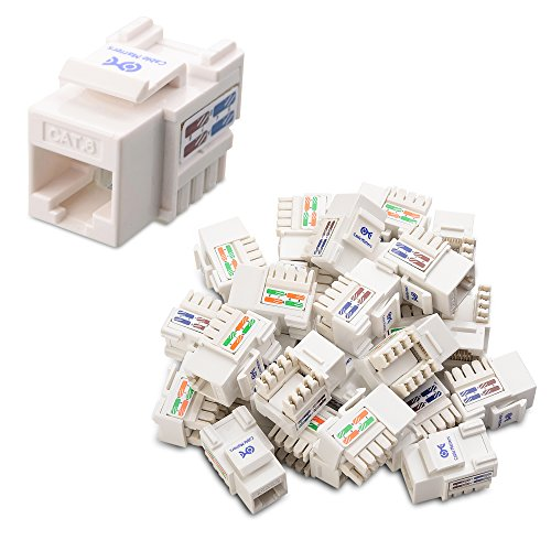 Cable Matters UL Listed 25-Pack RJ45 Keystone Jack in White and Keystone Punch-Down Stand