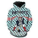 Shirt à Capuche Hommes Sweat - New England Rugby Fans 3D Jersey Unisexe Cardigan Casual Printemps Football à Manches Longues Veste De Sport Unisexe Zip,New England Patriots-M