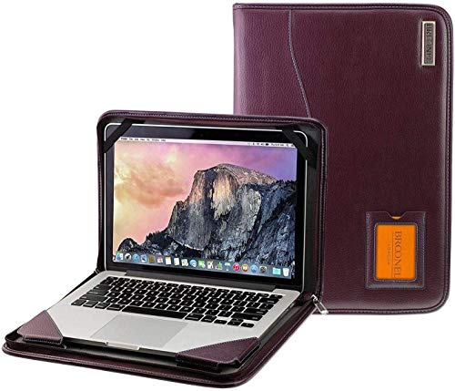 Broonel - Contour Series - Purple Leather Protective Cover with Shoulder Strap - Compatible with The Dell Inspiron 14 5491 14' 2-in-1 Laptop