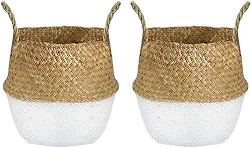 Lawei 2 Stück Naturkorb Seegras Blumenkorb Handgewebt Ablagekorb Wäschekorb mit Griffen für Pflanze Blumen Spielzeug Lagerung - Weiß, M