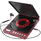 Portable CD Player, 2000 mAh Rechargeable Compact Personal CD Player with Double Headphones Jack Support Shockproof/Anti-Skip Protection, Walkman Music Disc Player with Audio Cable (Red)