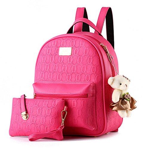 YAAGLE Damen Rucksack PU Leder Schultertasche Campus Uni Schultasche mit Anhänger Bärchen Backpack+Handtasche 2 Pcs
