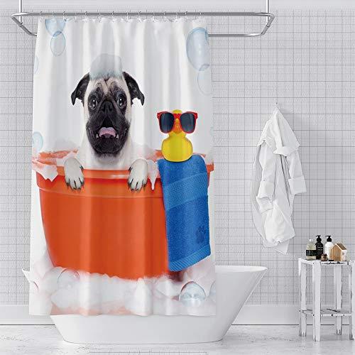 OERJU Cute Animal Shower Curtain for Bathroom Decor Pug Dog in Orange Bathtub with Yellow Plastic Duck Blue Towel Isolated White Bath Curtain Fabric Funny Animal Shower Curtain with Hooks 72x84inch