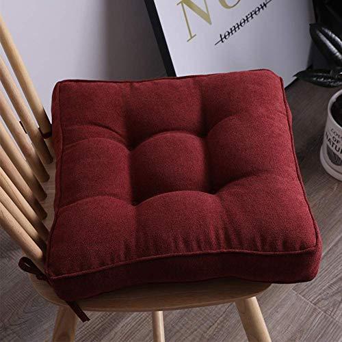 DIELUNY Almohadillas de silla de color sólido, almohadillas de asiento para interiores y exteriores, acolchadas, transpirables, con lazos, rojo vino, 45 x 45 cm