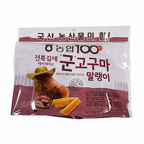 Korean 100% real Baked Dried Chewy Sweet Potato Nonghyup Areumchan Kfood Mukbang[군고구마 말랭이] 1.76oz 50g x 3 Pouches (Pack of 1)