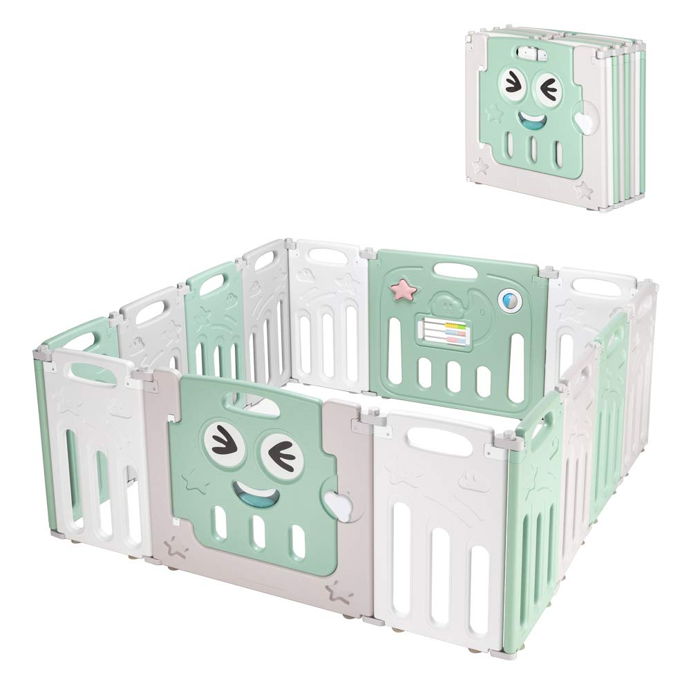 Cheap SALE Start JOYMOR 14 Panels Foldable Detroit Mall Baby Playpen Play BPA-Free Safety Yard