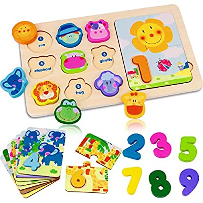 Dreampark Wooden Toys for Kids, Animal Shape Matching Game Number Counting Puzzle Board Educational Montessori Toys for 3 4 5 Years Old, Preschool Learning Color Recognition Blocks for Boys and Girls