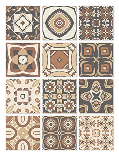Panorama Azulejos Adhesivos Cocina Baño Pack de 48 Baldosas de 15x15cm Modelo Hidráulico Marrón - Vinilos Cocina Azulejos - Revestimiento de Paredes - Cenefas Azulejos Adhesivas