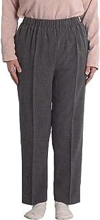 シニアファッション レディース パンツ スラックス ウエストゴム ストレッチ 裾上げ済み ゆったり 70代 80代 90代 高齢者 日本製 S M L LL
