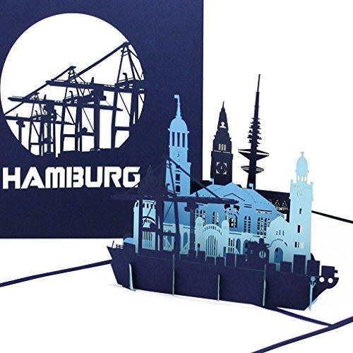 """Pop Up Karte """"Hamburg – Hamburger Hafen Panorama"""" - 3D Grußkarte als Souvenir, Geburtstagskarte & Einladung zur Städtereise"""