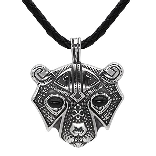 GuoShuang Men Stainless Steel Bear Head Norse Viking Amulet Pendant Necklace