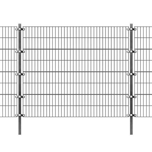 YVX Panel de Valla con Postes Barrera de jardín Juego de Valla Diseño Simple Hierro con Recubrimiento en Polvo 6x1,6 m Antracita