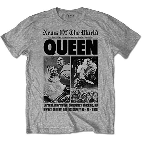 Rockoff Queen News of The World 40th Front Page T-Shirt, Grigio (Grigio), S Uomo