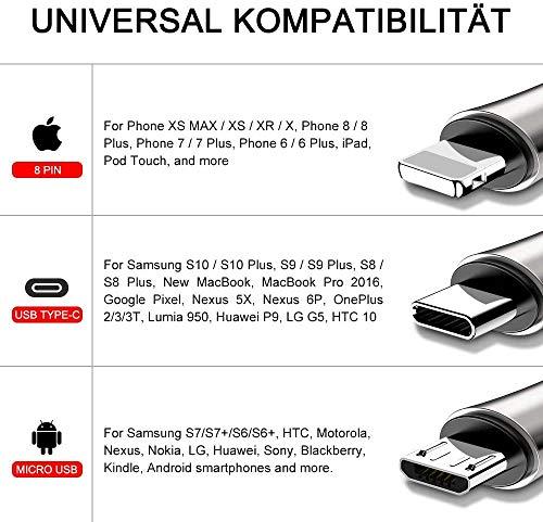 CAFELE 3 in 1 Universal Ladekabel Zinklegierung,200CM 3A Schnellladung Mehrfach Ladekabel Nylongeflecht,Multi USB Kabel für Android Galaxy S10/S9/S8/S7/A50,Huawei/P30/P20,Xiaomi,Sony,Kindle[Schwarz]