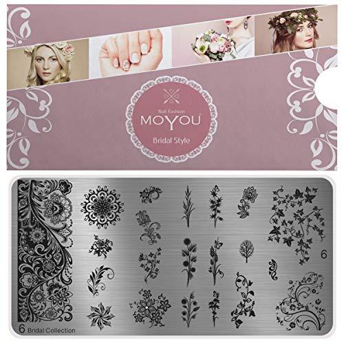 MoYou's XL Bridal 6 Stamping Schablone, Nail Art Stampling - Nagel Lack Stempel, große, elegante blumen, Maniküre, vollständige Nageldesigns für lange Nägel