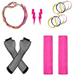 JustinCostume Women's 80s Outfit Accessories Neon Earrings Leg Warmers Gloves, C