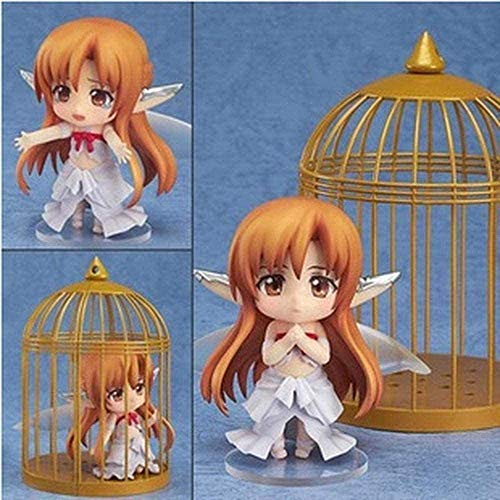 Sword Art Online Beautiful Girl in Bird Cage Q Version Yuuki Asuna Fairy Dance Action Figure Animated Character Model Decoration Statue for Gifts and Home Office Decoration