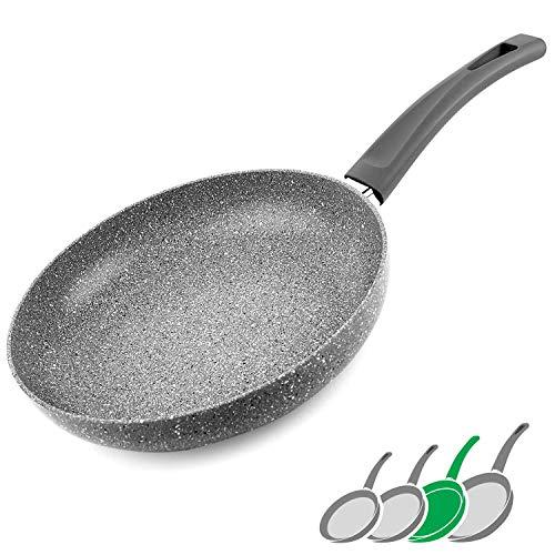 GadHome Premium 26cm Sartén Antiadherente | Bandeja de Inducción de Aluminio de Alta Calidad con Mango Ergonómico | Efecto de Granito de Piedra Gris