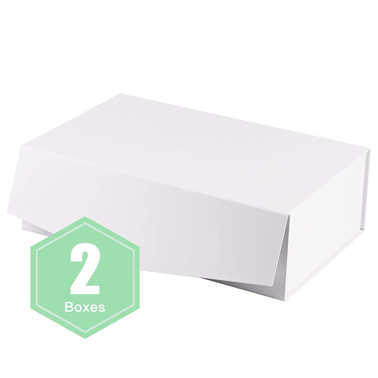 WRAPAHOLIC 2Pcs White Gift Box Rectangular 13.8x9x4.3 Inches, Collapsible Gift Box with Magnetic Closure for Party, Wedding, Gift Wrap, Bridesmaid Proposal, Storage