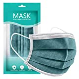 LINOJIN 50Pcs 3Ply Disposable Face, 3 Ply Facial Cover with Ear Loop, Breathable Blocking Air Pollution Anti-Dust Non-Woven Mouth Cover Face Masks, Mouth Protector Prevent Sneeze Droplets