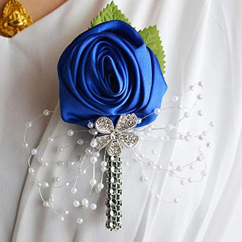 Bhu Corsé novio Boutonniere Pin de novia Corsages Champagne Dama de honor Pulsera de boda Accesorios de flores A-5.