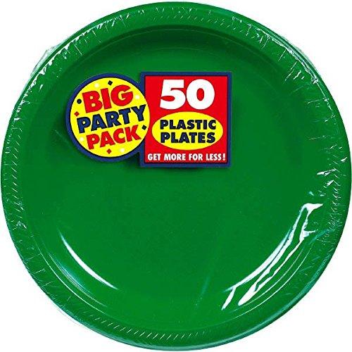 Amscan Big Party - Platos de plástico para almuerzo (50 unidades, 26,6 cm), color verde, Verde, 50 pieces, 1, 6