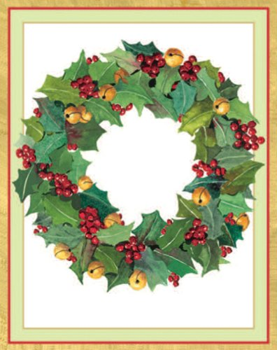 Entertaining with Caspari Holly Wreath Christmas Cards with Unlined Envelopes, Box of 16