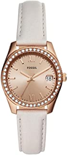 Fossil Women's Stainless Steel Quartz Leather Strap, Gray, 16 Casual Watch (Model: ES4556)