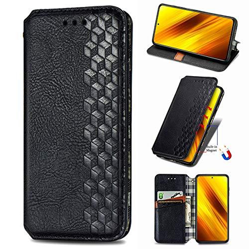IMOK Leder Folio Hülle für Oppo Reno4 5G, Premium PU/TPU Flip Wallet Tasche mit Kartenfächern, Magnetic, Book Style Lederhülle Handyhülle Schutzhülle (Schwarz)