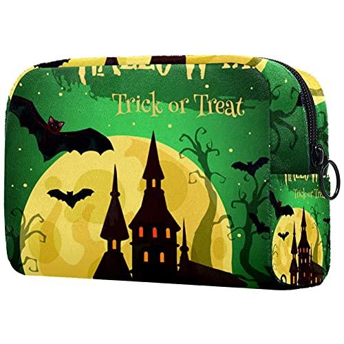 Bolsa de cosméticos para Mujeres Castillo de Halloween con la Linterna de Calabaza Bat Bolsas de Maquillaje espaciosas Neceser de Viaje Organizador de Accesorios