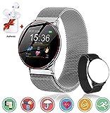 Smartwatch Reloj Resistente Hombre Mujer Niños Monitor Pulso Cardiaco Pulsera Actividad Reloj Inteligente Cardio Podómetro Bluetooth Reloj Deportivo Rastreadores Cronómetro para Android iOS(Plata)