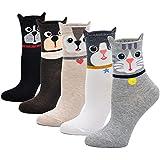 Mogao Caves Calcetines Animales Mujer Calcetines de Divertidos Ocasionales, Mujer Novedad Calcetines de Gato