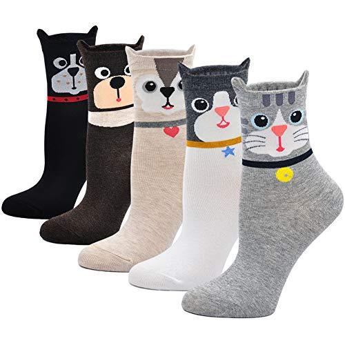 Calcetines de Algodón Mujer Calcetines Térmicos, Calcetines de Animales Lindos Mujer Calcetines de Divertidos Ocasionales, 5 Pares