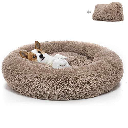Boehner Rundes Hundebett, Plüsch weich waschbar selbst erwärmend beruhigend Hundebett Donut Cuddler Rundes Hundebett bequem zum Schlafen Winter (Donut Pet Bed 120cm)
