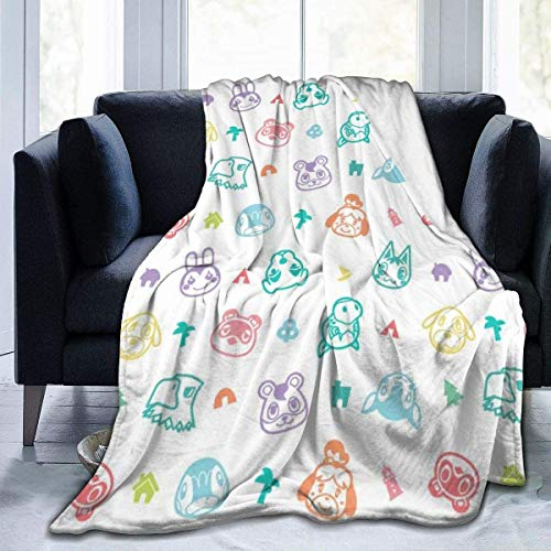 KINGAM Cobijas de cama de micro flano sobrenatural de cruce de animales de lujo acogedor impreso mullido manta de felpa para sofá silla sala de estar