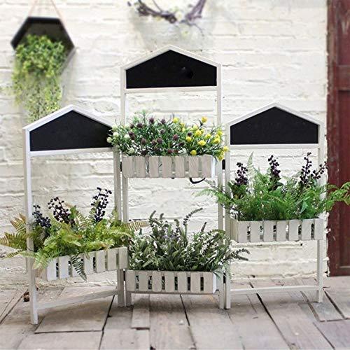 Battitachil Blumentopfhalter Display Regal 3-Panel-Bildschirm Paravent Pflanzenständer Blumenregal for Haus Patio Rasen Garten Balkon (Color : White, Size : 37x22x96cm)
