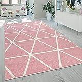 Alfombra Salón Pelo Corto Moderna Motivo Geométrico Rombos Rosa Pastel, tamaño:60x100 cm