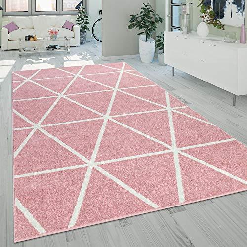 Paco Home Teppich Rosa Pink Weiß Wohnzimmer Pastellfarben Rauten Design Robust Kurzflor, Grösse:70x140 cm