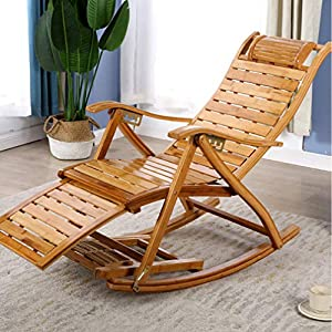 Portable Rocking Chair Bamboo Living Room Balcony Armrest Chair Seat-Rocking Chair-Rocking Chair for Nursery-Baby Rocker-Glider Rocker with Ottoman-Glider Rocker-Rocker Recliner
