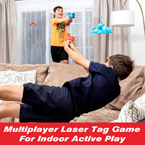 Power Your Fun Laser Launchers Toy Guns Laser Tag - 2 Pack Infrared Laser Tag Set Shooting Games, Target Practice Toy Guns for Kids with 2 Toy Guns and 2 LED Flying Toy Gun Targets