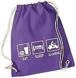 EAT SLEEP SCOOTER ! Gymbag lila-weiss