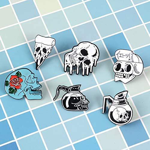 6 stuks Enamel Pin Set Punk Revers Broche koele badge Skull Pin voor Kleding Bag Decoratie En Kerstmis Halloween in de buurt van de Gift