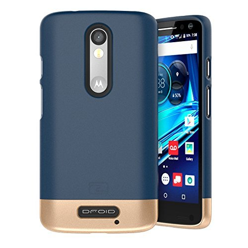 Encased Motorola Droid Turbo 2 Case, (SlimSHIELD Edition) Ultra Slim Cover (Full Coverage) Hybrid Slider Shell (Deep Blue)
