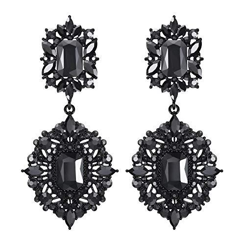 EVER FAITH Mujer Cristal Austríaco Art Deco Vintage Estilo Pendientes Cierre de Clip Tono Carbón Negro