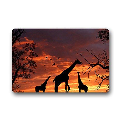 Doubee Animals Girafe Paillasson Premium Tapis Anti-Poussière Paillasson rectangulaire en Jardin après la Maison 60 cm x 40 cm, Tissu, E, 23.6\