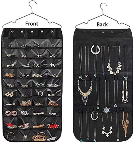 Organizador de joyas colgante de doble cara con 40 bolsillos y 20 ganchos de cinta mágica para almacenamiento de joyas, soporte de...