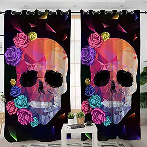 Cubierta De La Ventana Out Black Out, Colorido Rose Skull Blackout Para Niños Habitación Con Aislamiento Térmico Para Niños Cortinas Oscurecimiento Para La Sala Estar De La Sala Estar,A,2x55x69 inch