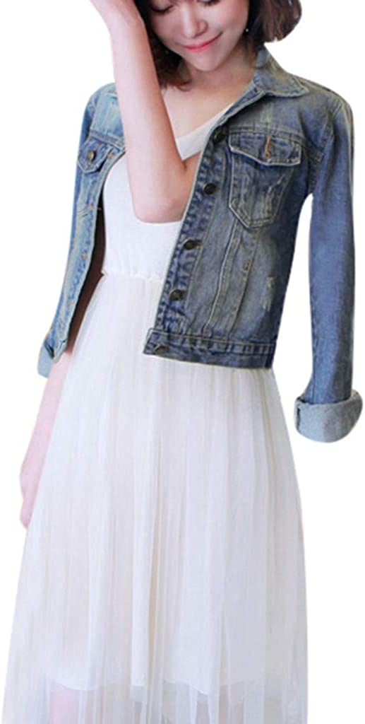 OTTATAT Casual Denim Jackets for Women,2020 Spring Autumn Ladies Lapel Solid Basic Button Classic Jean Outercoat Tops
