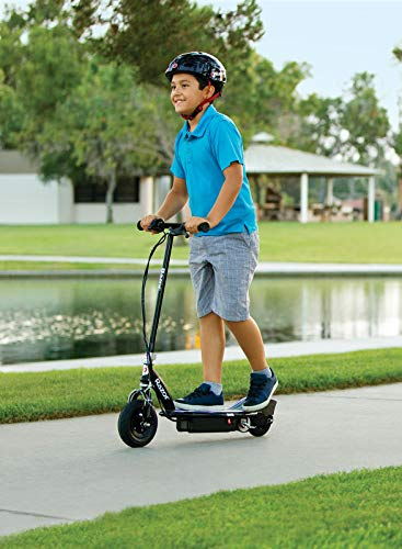 Razor E100 Glow Electric Scooter for Kids Age 8 and Up, LED Light-Up Deck, 8' Air-filled Front Tire, Up to 40 min Continuous Ride Time