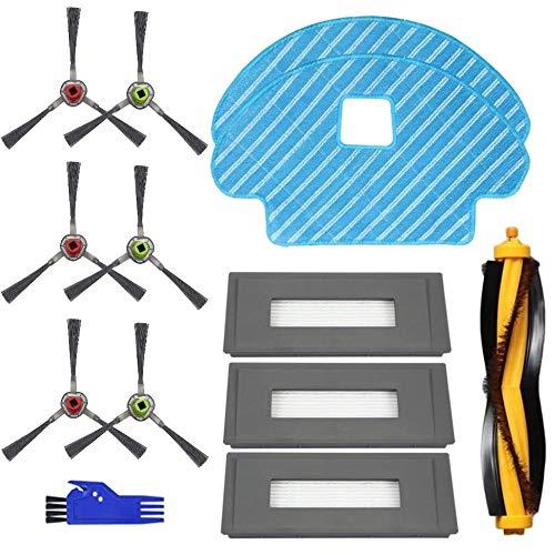MTKD® Pièces de Rechange pour aspirateur Ecovacs Deebot OZMO 930 - Kit de Filtre et de Balai à Franges - Pack de 16 pièces